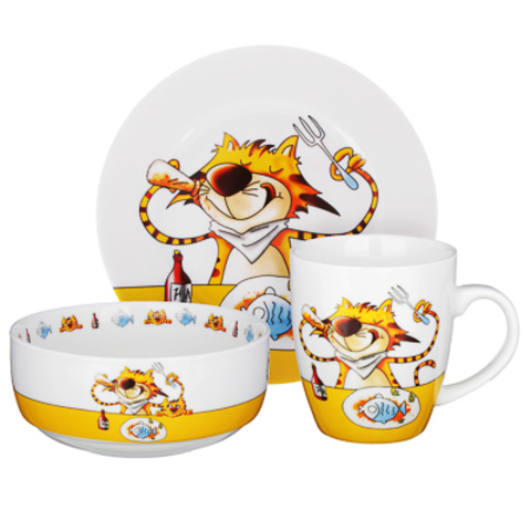 Полосатый Кот набор детской посуды MILLIMI,3 предмета, Костяной фарфор