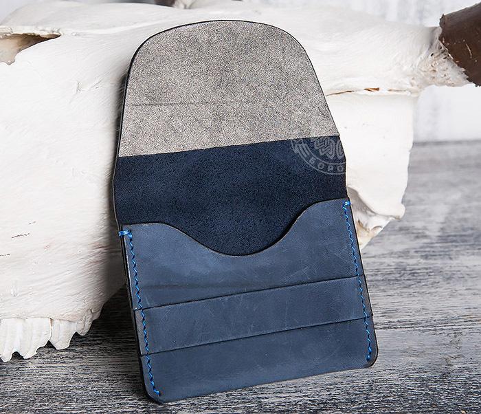 BC124-3 Кардхолдер ручной работы из натуральной синей кожи фото 06