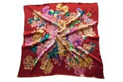 Итальянский платок из шелка бордовый с цветами 5426