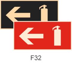 фотолюминесцентные пожарные знаки F32 Указатель движения к огнетушителю налево