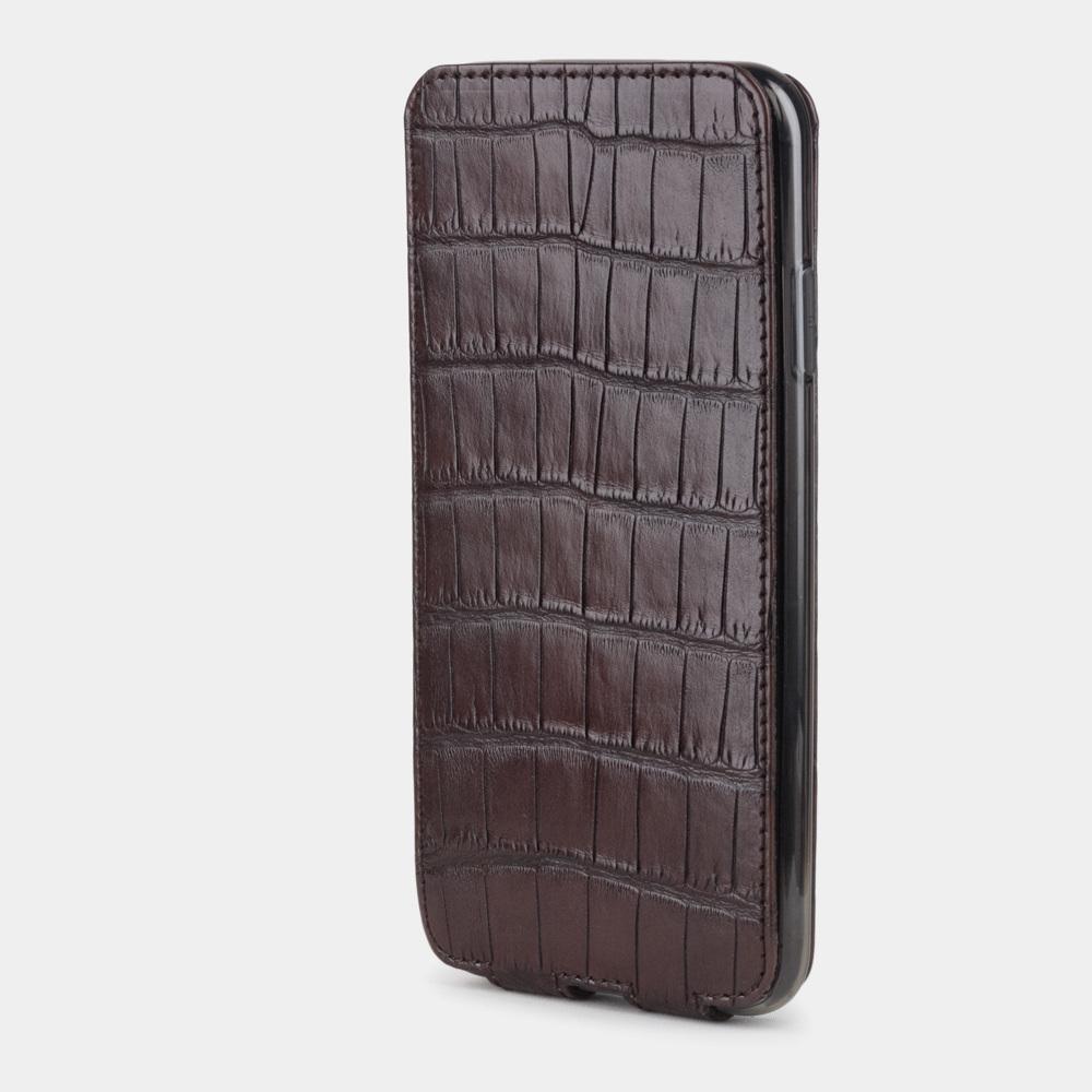 Чехол для iPhone XS Max из натуральной кожи крокодила, цвета коричневый винтаж