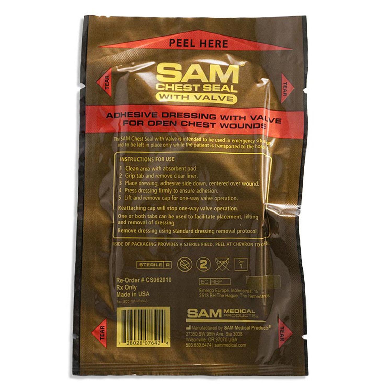 Окклюзионный пластырь на грудь Chest Seal Valved 2.0 (с клапаном) (SAM)