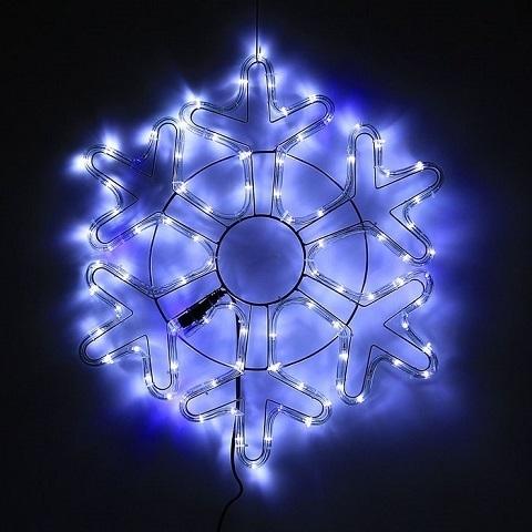 Снежинка светодиодная d-52 см. Бело-синяя мерцающая