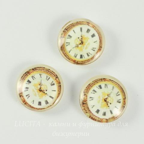"""Кабошон стеклянный  """"Часы""""  16 мм ()"""