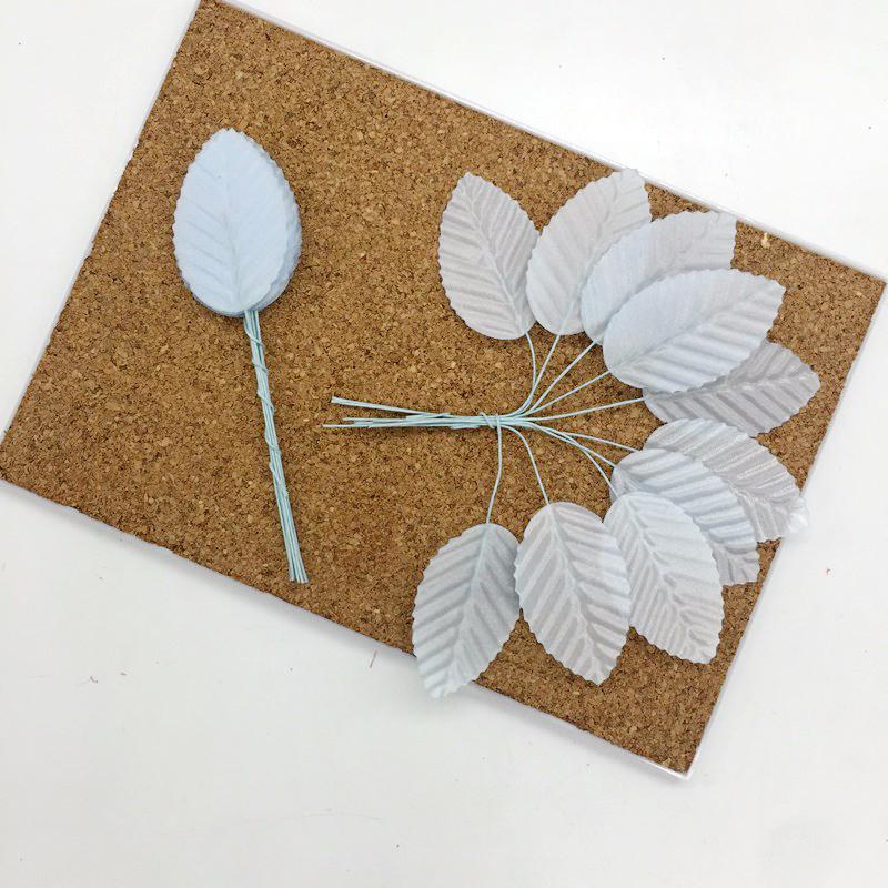 Листья из ткани на проволоке, голубой