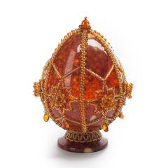 Сувенирное Пасхальное яйцо (натуральный янтарь, бисер), АВ-0756