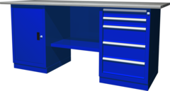 Верстак с двумя тумбами — тумба с дверцей — тумба с 5 ящиками, 1900х686х845 мм