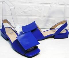 Стильные сандалии босоножки с тупым носом женские Amy Michelle 2634 Ultra Blue.