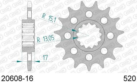 20608-16 звезда передняя HONDA CBR 1000, VTR 1000 (ведущая) стальная, 520, AFAM