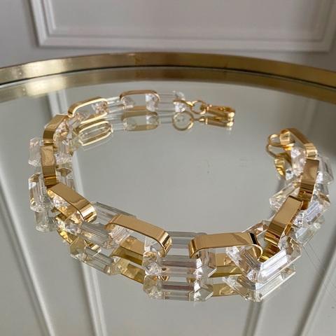 Колье-цепь с геометричными комбинированными звеньями (золотистый, прозрачный)
