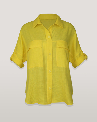 Блузка Teresa рубашка карманы вафелька однотон к/р