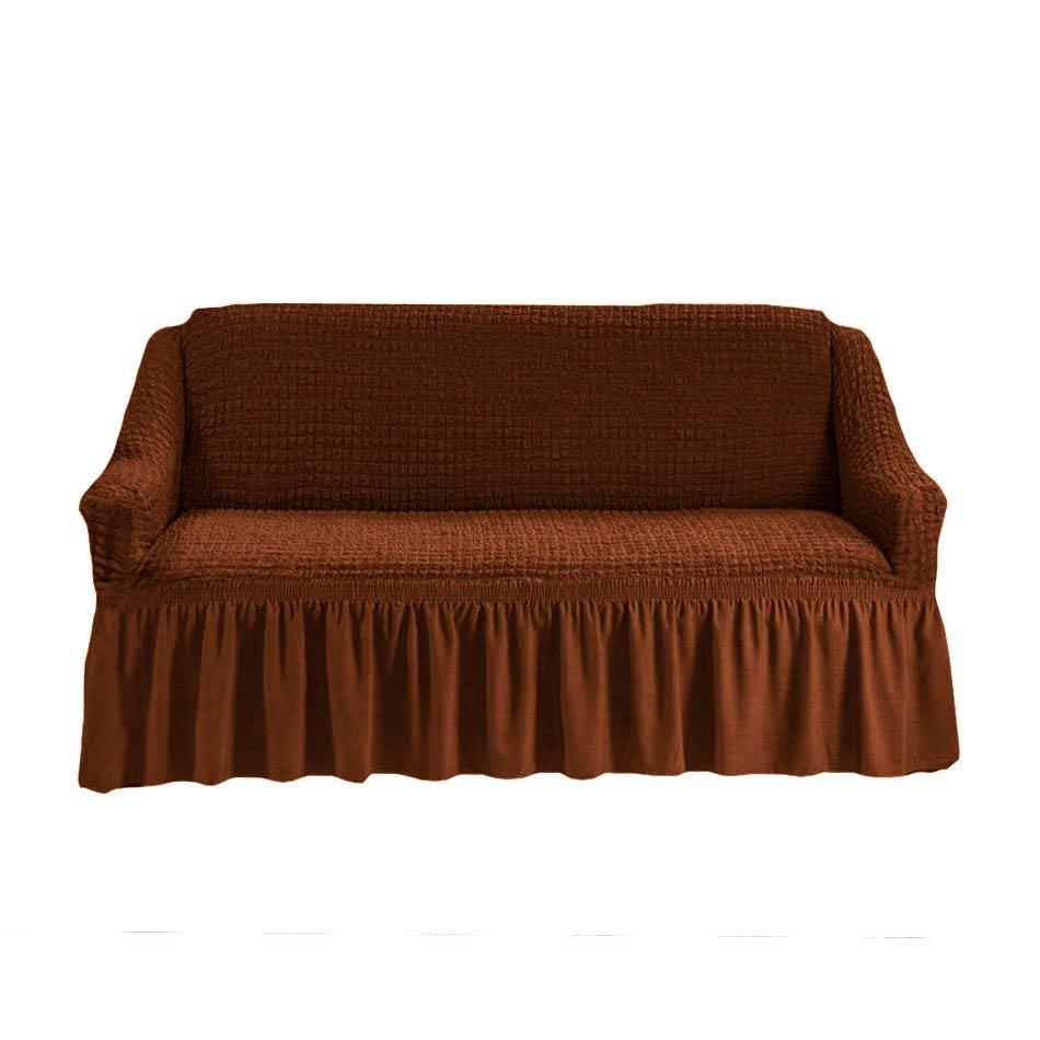 Чехол на двухместный диван, коричневый