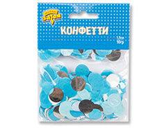 Конфетти Круги тишью/фольга Серебро/Голубой, 10 гр, 1,5 см, 1 уп.