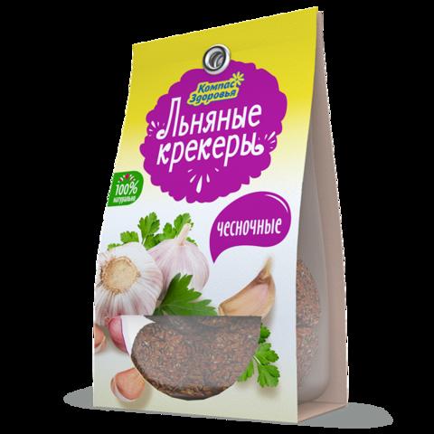 Крекеры льняные с чесноком, 50 гр. (Компас Здоровья)