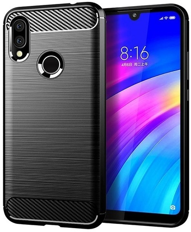 Carbon / Чехол для Xiaomi Redmi 7 (Redmi Y3) серия Карбон | черный