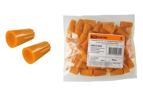 Соединительный изолирующий зажим СИЗ-3 5,5 мм2 оранжевый (50 шт) TDM