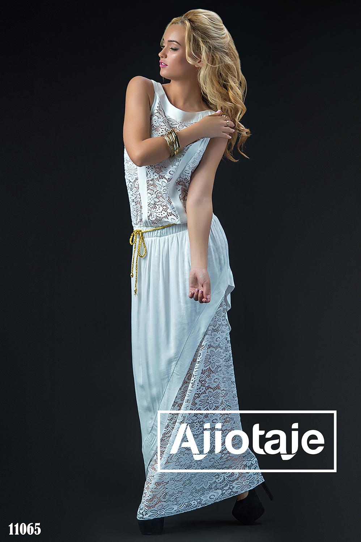 Белое платье в пол с открытой спинкой