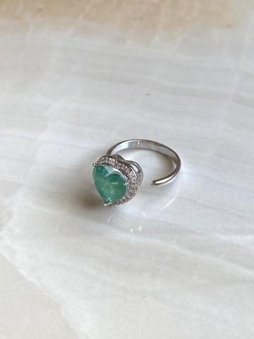 Кольцо Аквахарт со светло-зеленым сердцем, серебряный цвет