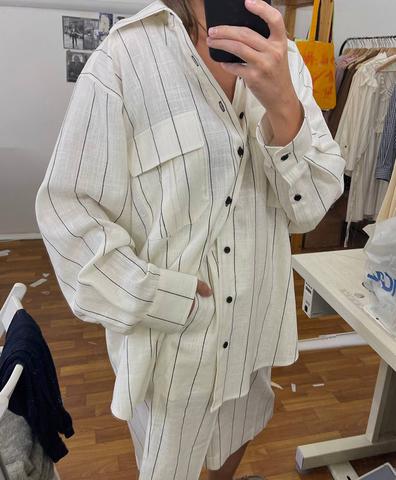 Льняной костюм в полоску