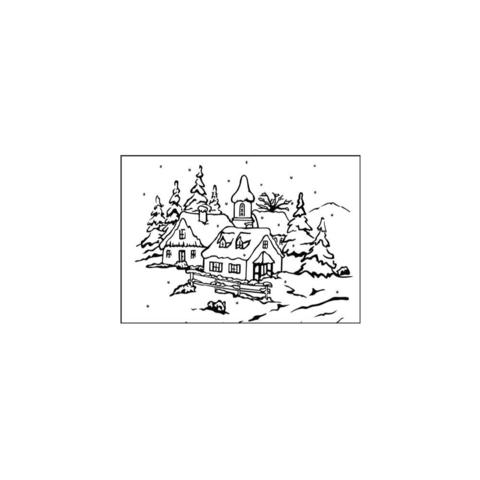 Папка для тиснения Nellie's Choice Picture Embossing Folder- Peaceful Village 3