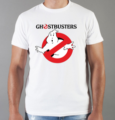 Футболка с принтом Охотники за привидениями (Ghostbusters) белая 0010