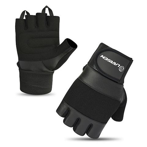Перчатки для т/а и фитнеса суппорт (нат.кожа) Larsen 16-8343 black (L)