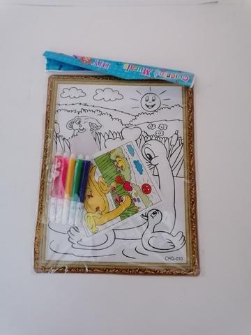 Картина-раскраска в коричневой рамке, с фломастерами, в ассортименте, CHQ-010