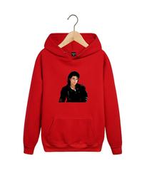 Толстовка красная с капюшоном (худи, кенгуру) и принтом Майкл Джексон (Michael Jackson) 001