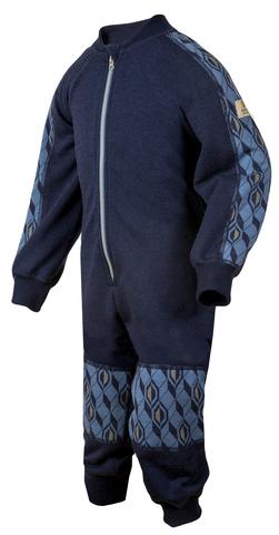 Janus детское термобелье комбинезон на молнии из шерсти мериноса синий