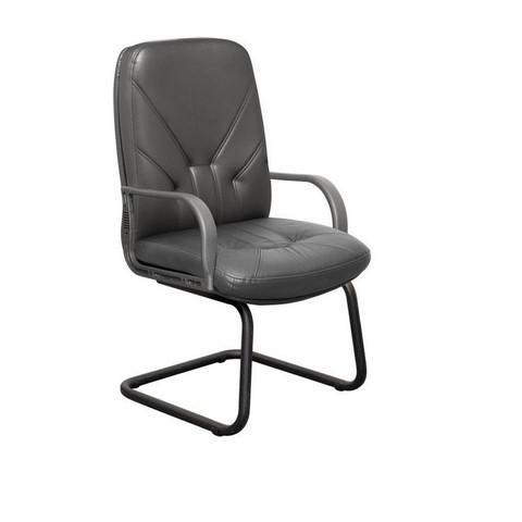 Конференц-кресло Менеджер на полозьях черное (кожа/пластик/металл черный)