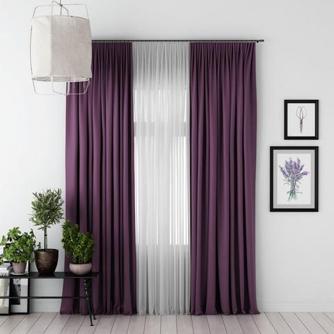 Комплект штор и тюль Джина блэкаут фиолетовый