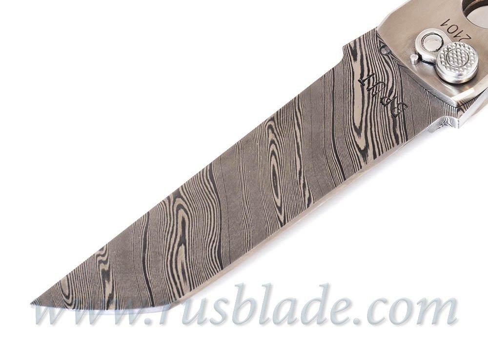 Custom Urakov Brut Damascus Titanium Tanto - фотография