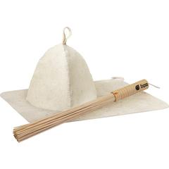 Подарочный Банный набор  (веник бамбуковый, коврик, шапка)
