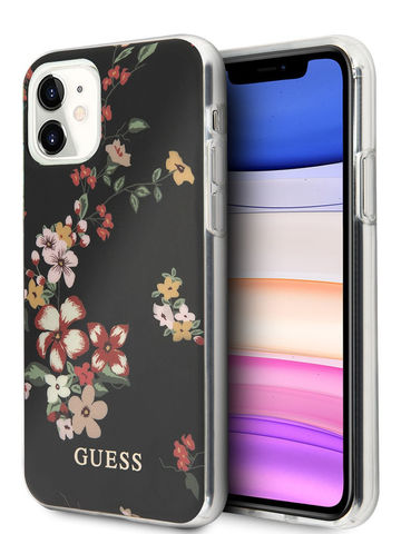 Guess / чехол для iPhone 11 | Flower TPU/PC Hard Shiny N.4 Black