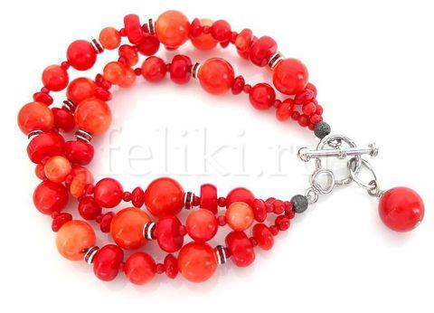красный браслет из коралла_многорядный яркий коралловый браслет_фото