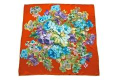 Итальянский платок из шелка красный с цветами 5427