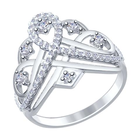 94012242 - Кольцо из серебра с фианитами