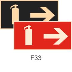 фотолюминесцентные знаки пожарной безопасности F33 Указатель движения к огнетушителю направо