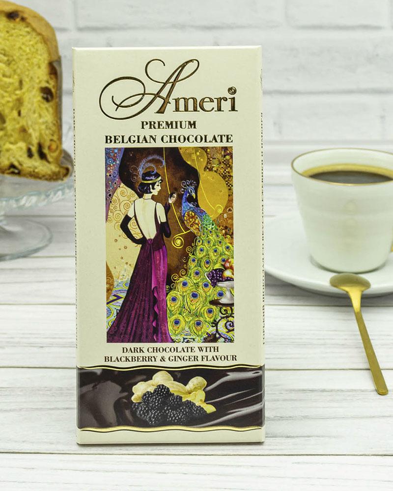 Горький Шоколад с Имбирем и Ежевикой Ameri 100 гр.