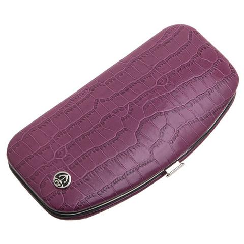 Маникюрный набор GD, 5 предметов, цвет розовый, кожаный футляр