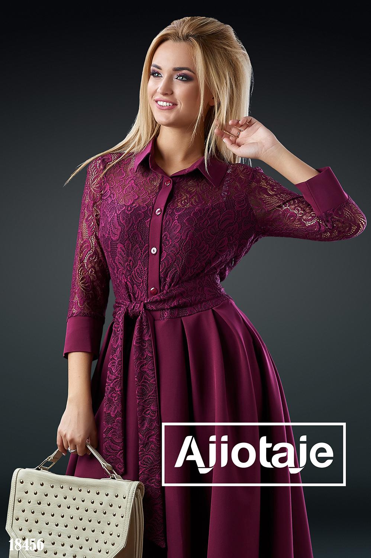 Платье цвета марсала с юбочкой-колокольчик