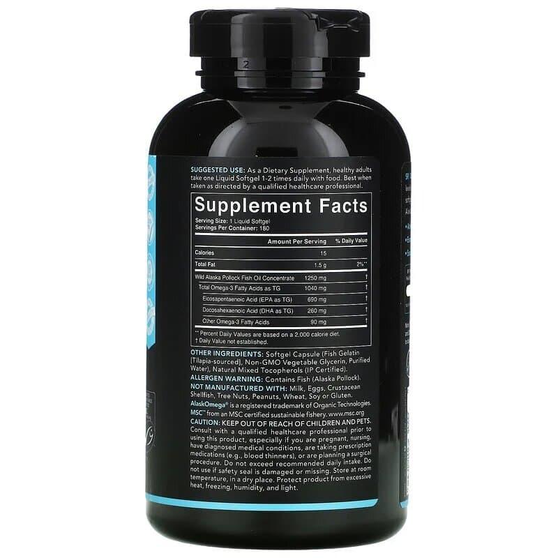 Omega-3 Fish Oil AlaskOmega, 1250mg, Sports Research