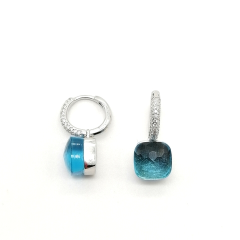 33347 -Серьги Caramel из серебра с голубым кварцем в стиле Pomellato