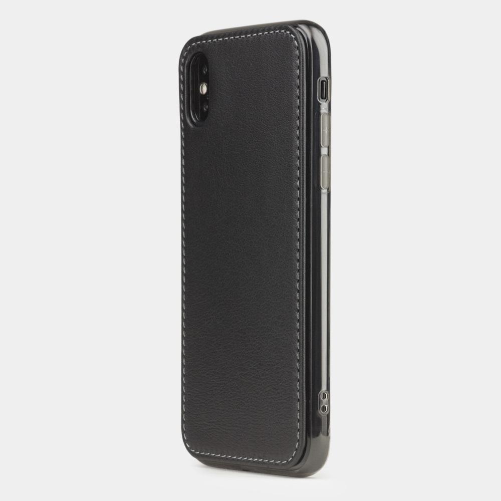 Чехол-накладка для iPhone X/XS из натуральной кожи теленка, черного цвета