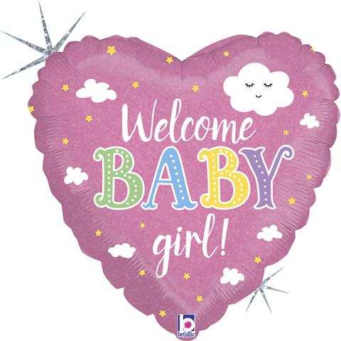 Шар сердце Welcome baby girl
