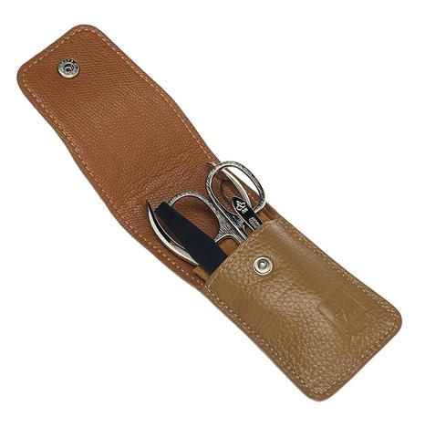 Маникюрный набор Dewal  (509EB) 4 предмета цвет бежевый кожаный футляр