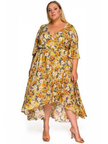 Платье из штапеля асимметричное горчичное