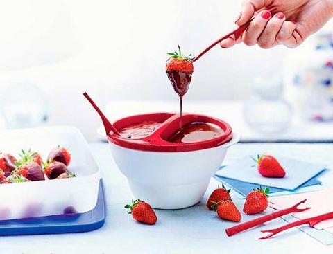 Набор для шоколадного фондю с 4мя вилочками в красном цвете