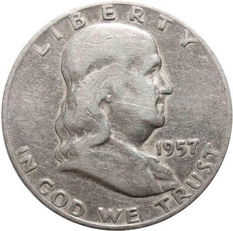 1/2 доллара 1957 год. США (D) VF (Франклин)