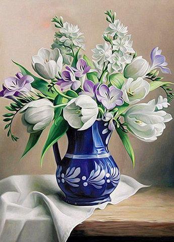 Картина раскраска по номерам 40x50 Букет с тюльпанами в синей вазе